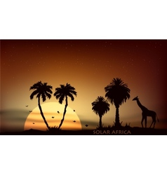 sunrise over the African savanna giraffe and trees vector image