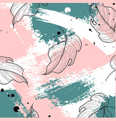 Tropical palm leaves on pink green vector