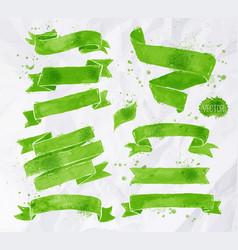 Watercolors ribbons green vector