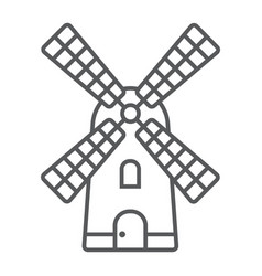 windmill thin line icon farming and agriculture vector image