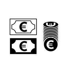 Euro banknote and coin simple black icon vector