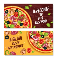 Italian pizza horizontal banners vector