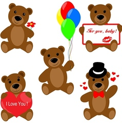 Set of valentine teddy bears vector