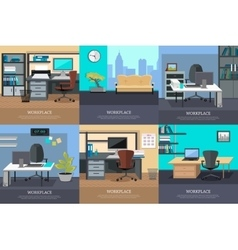 Set of office interior web banners in flat design vector