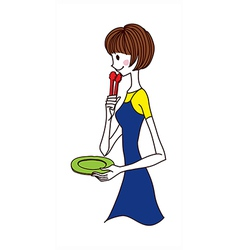 Side view of woman holding plate vector