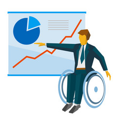 Disabled businessman in wheelchair shows poster vector