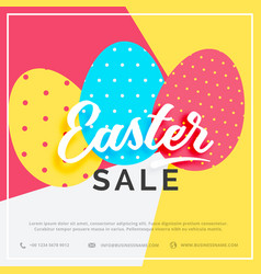 Easter sale banner with colorful three eggs vector