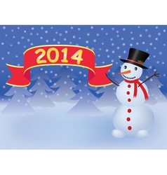 background with snowman holding banner vector image