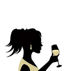 Silhouette of a woman with a glass vector