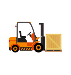 Forklift truck with wooden box vector
