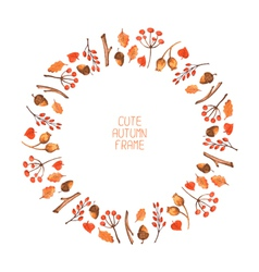 Watercolor autumn frame vector