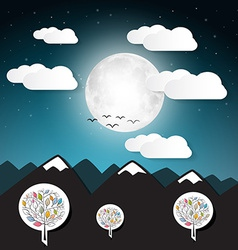 Landscape with Full Moon and Mountains vector image