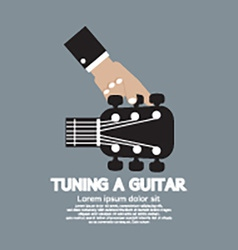 Hand tuning a guitar vector