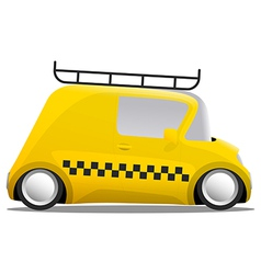 Mini car cartoon yellow taxi vector