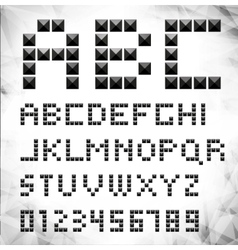Silver pixel font with stud vector