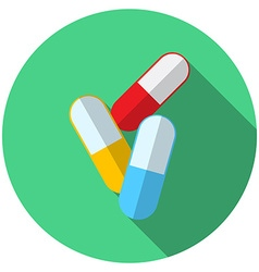 Flat design modern of medical pills icon with long vector