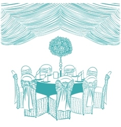 Banquet table with chairs vector
