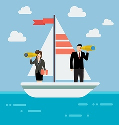 Business man and woman sailing and looking for vector