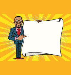 african american businessman showing on copy space vector image vector image
