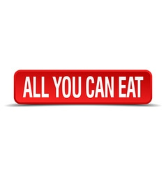 all you can eat red three-dimensional square vector image