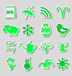 April month theme set of simple stickers eps10 vector