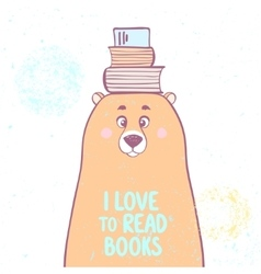 bear and books vector image