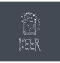 Beer sketch style chalk on blackboard menu item vector