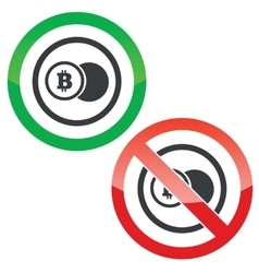 Bitcoin coin permission signs vector