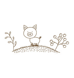 Brown contour graphic of pig in hill with plants vector