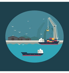 Cargo ship with working crane loading containers vector