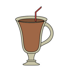 Color image cartoon glass cup of cappucino with vector