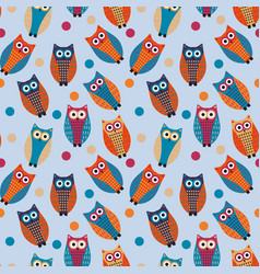 cute owl kids seamless pattern vintage style vector image vector image