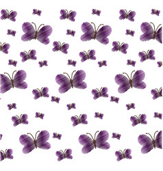 cute purple butterfly seamless pattern vector image