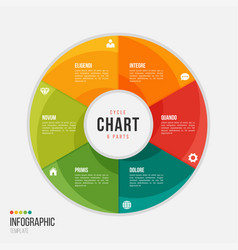 Cycle chart infographic template with 6 parts vector