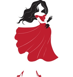 dancing woman silhouette vector image