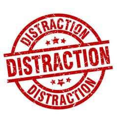 Distraction round red grunge stamp vector