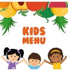 Girl boy fruits and kids menu concept vector