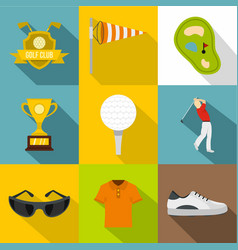 golf icon set flat style vector image vector image