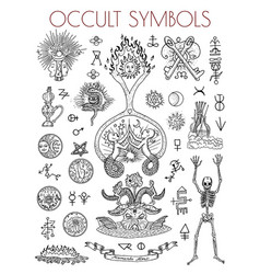 Graphic set with esoteric symbols and vector