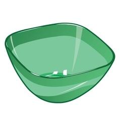 Green empty plastic salad bowl vector
