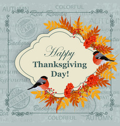 happy thanksgiving day greeting card vector image vector image