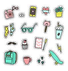 hipster pack set of objects vector image vector image