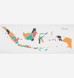 indonesia map with states and modern round shapes vector image