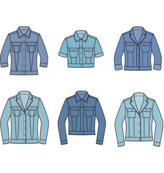 Jean jacket set vector