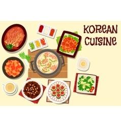 Korean cuisine icon for restaurant menu design vector