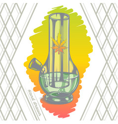 large glass bong color back vector image vector image