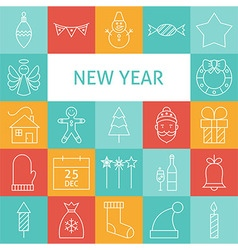 Line art modern happy new year holiday icons set vector