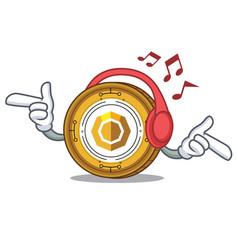 Listening music komodo coin mascot cartoon vector