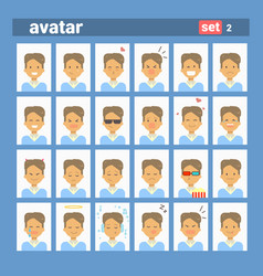 male different emotion set profile icon man vector image