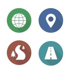 Map navigation flat design icons set vector